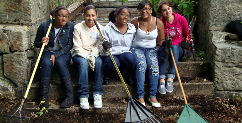 Girls Raking